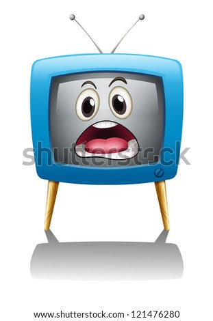 illustration of a television with face on a white background - stock photo