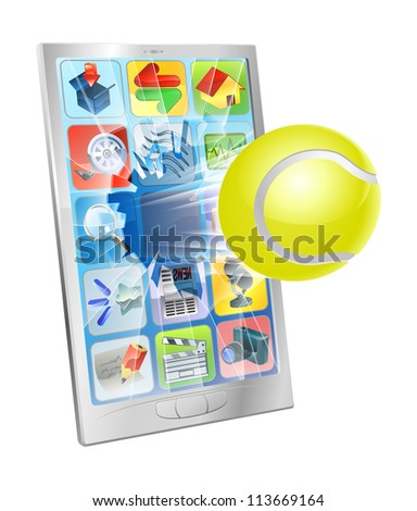 Illustration of a tennis ball flying out of a broken cell phone screen - stock photo