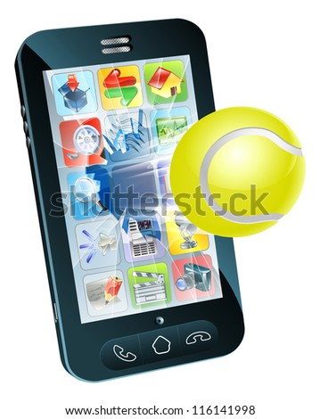 Illustration of a tennis ball flying out of a broken mobile phone screen - stock photo
