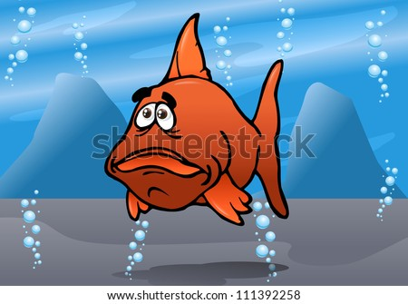 illustration of a the cute fish red bash underwater-Animals of a coral reef - stock photo