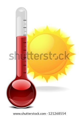 illustration of a thermometer with a sun - stock photo