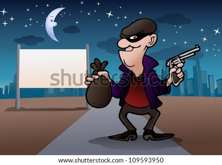 illustration of a thief dressed in black and eye-masked  steal money - stock photo