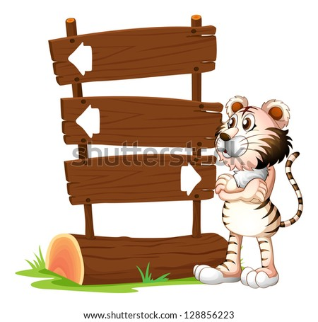 Illustration of a tiger and the signboards on a white background
