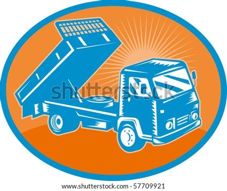 illustration of a Tipper dumper dump truck or lorry set inside an oval. - stock photo