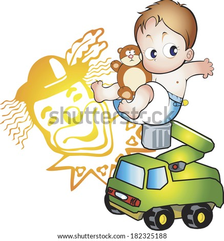 Illustration of a toddler riding a toy car