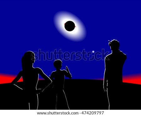 Illustration of a total eclipse of the sun