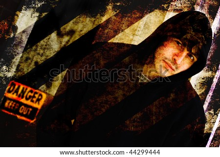 Illustration of a tough looking guy posing in an urban setting with grunge effects.