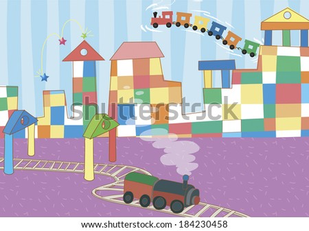 Illustration of a toy train going through a toy town