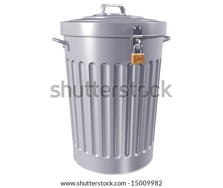 Illustration of a traditional trashcan with a lock