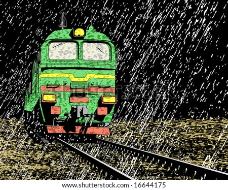 Illustration of a train in a rainstorm