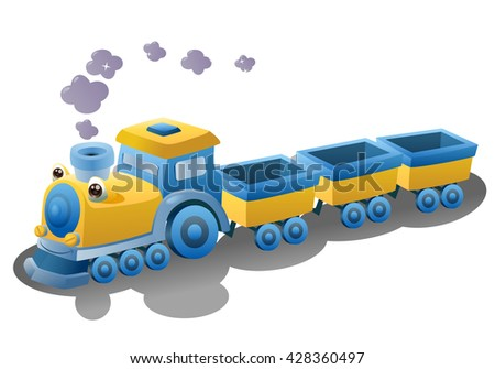 illustration of a train transportation vehicle on isolated white background