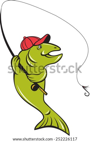 Illustration of a trout rainbow fish holding fishing rod reel and hook fly fishing viewed from the side set on isolated white background done in cartoon style.