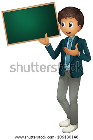 Illustration of a tyoung man holding sign - stock photo