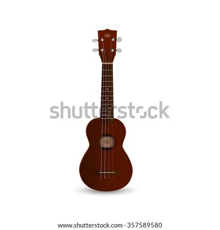 Illustration of a ukulele isolated on a white background. - stock photo
