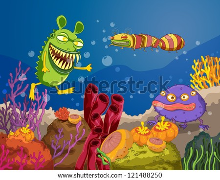illustration of a under water monster