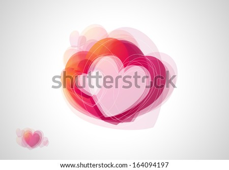 Illustration of a Valentine card with many red and reddish hearts