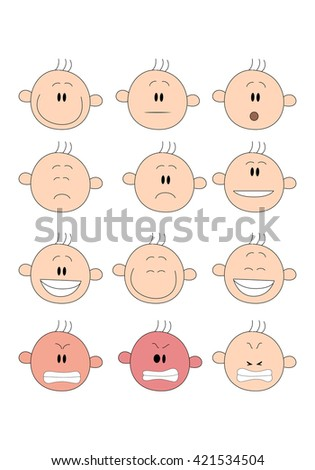 illustration of a variety stick man facial expressions over a white background - stock photo