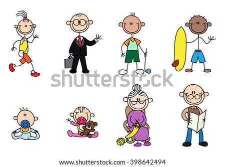 illustration of a variety stick man people over a white background - stock photo
