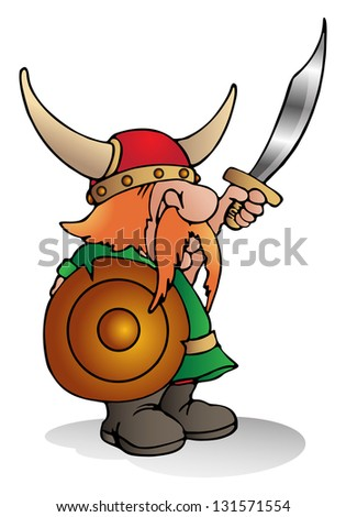 illustration of a viking man on isolated white background - stock photo