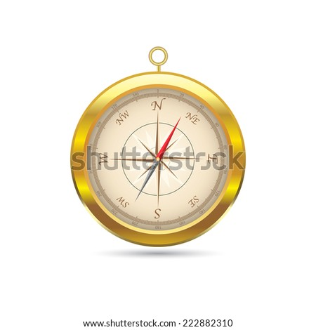 Illustration of a vintage compass isolated on a white background. - stock photo