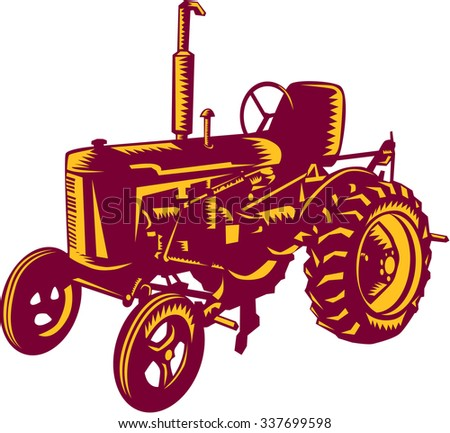 Illustration of a vintage farm tractor set on isolated white background done in retro woodcut style.  - stock photo