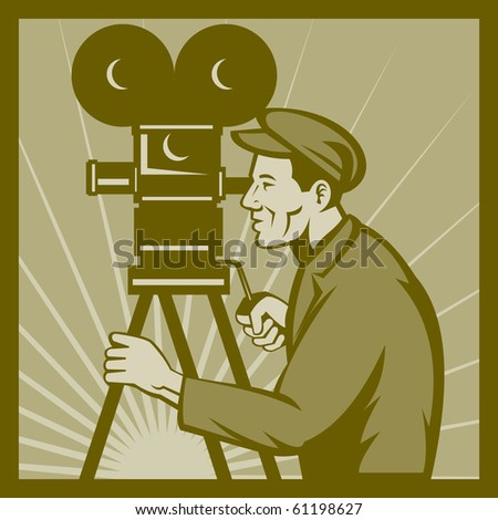 illustration of a Vintage movie or television film camera and director viewed from a low angle done in retro style. - stock photo