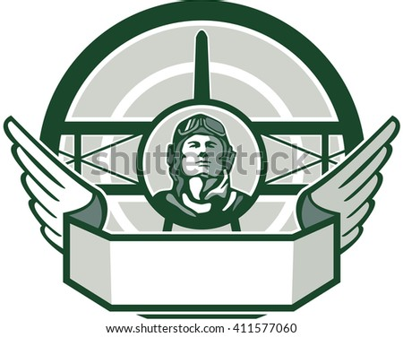 Illustration of a vintage world war one pilot airman aviator bust with spad biplane fighter plane front in background set inside circle done in retro style.  - stock photo