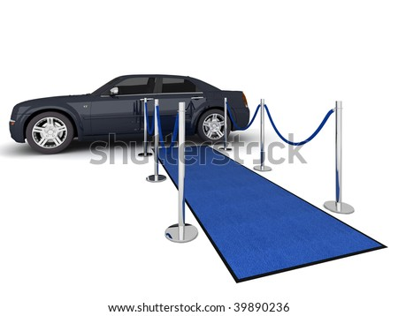 Illustration of a VIP carpet leading with waiting limousine. Isolated on white. - stock photo