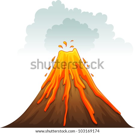 Illustration of a volcano erupting - EPS VECTOR format also available in my portfolio. - stock photo