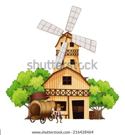 Illustration of a wagon with an armed gunman standing infront of the wooden house on a white background - stock photo