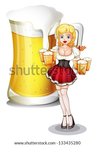 Illustration of a waitress with six mug of cold beers on a white background
