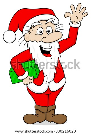 illustration of a waving cartoon santa claus on white