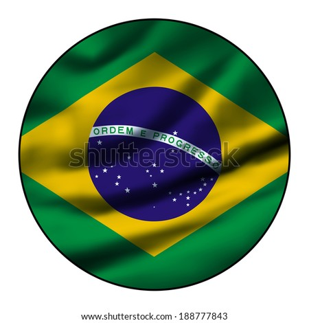 Illustration of a waving flag in a round circle - Brazil