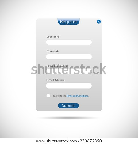 Illustration of a web register panel isolated on a white background. - stock photo