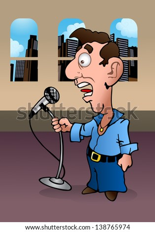 illustration of a weird man holding microphone reporting the news on office background