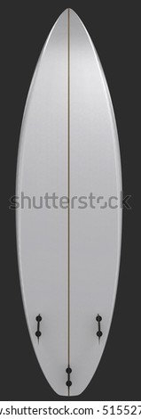 Illustration of a white surf board - front view