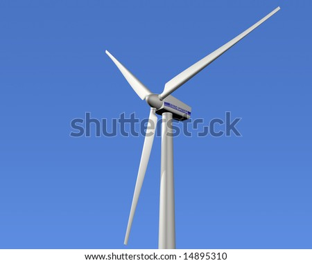 Illustration of a wind turbine with a clear blue sky in the background
