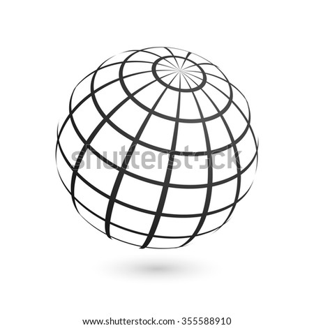 Illustration of a wire frame planet sphere, isolated on a gray background. - stock photo