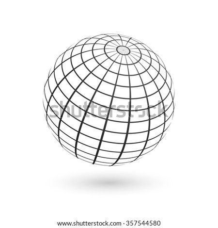 Illustration of a wire frame planet sphere on white background.  - stock photo
