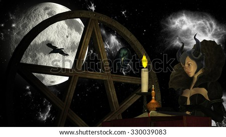 Illustration of a witch reading Magic book with candle light at Moon background with Pentacle object and crows
