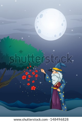 Illustration of a wizard holding a magic book and a wand - stock photo