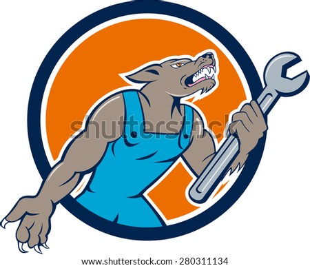 Illustration of a wolf mechanic holding spanner looking up viewed from side set inside circle on isolated background done in cartoon style.  - stock photo