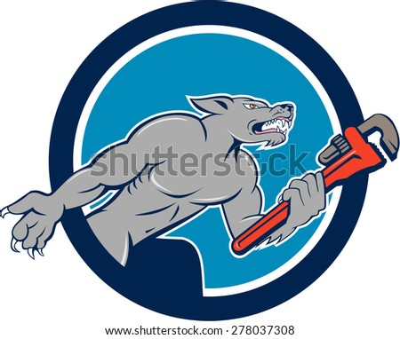 Illustration of a wolf plumber holding monkey wrench viewed from side set on isolated background inside circle done in cartoon style.