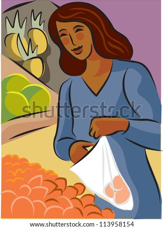 Illustration of a woman buying apricots at a grocery store - stock photo