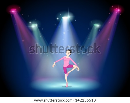 Illustration of a woman performing ballet on the stage with spotlights