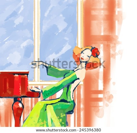 Illustration of a Woman Playing the Piano - stock photo