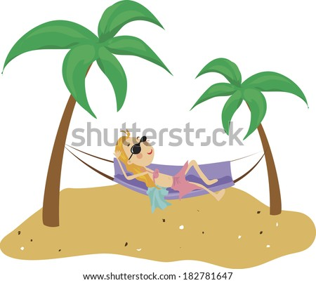 Illustration of a woman relaxing in a hammock