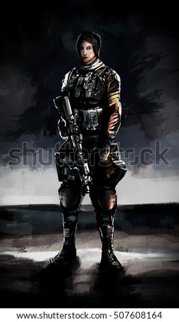 Illustration of a woman special forces troops in full uniform