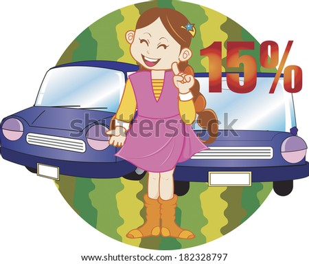Illustration of a woman with cars on sale