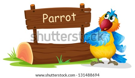 Illustration of a wooden signage with a colorful bird on a white background